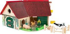 Ферма - Детски дървен комплект за игра с фигурки и аксесоари -