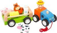 Трактор с фигурки на животни и аксесоари - Детска дървена играчка за дърпане -
