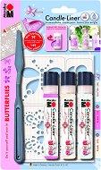 Контур за свещи - Пеперуди - Комплект от 3 цвята с шпакла и шаблон