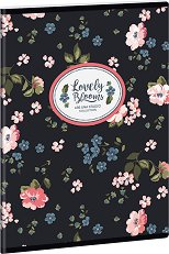 Ученическа тетрадка - Mixed Flowers : Формат А5 с широки редове - 40 листа -