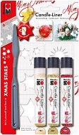 Контур за свещи - Коледни звезди - Комплект от 3 цвята с шпакла и шаблон