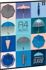 Ученическа тетрадка - Umbrella : Формат А4 с широки редове - 40 листа -