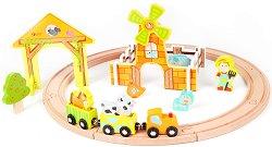 Ферма с влакче - Детски комплект за игра от дърво -