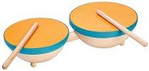 Барабани - Детски дървен музикален инструмент - играчка