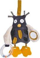 """Бухал - Мека бебешка играчка с дрънкалка и дъвкалка от серията """"Les Moustaches"""" - играчка"""