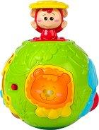 Активна топка - В джунглата - Бебешка играчка със звукови и светлинни ефекти -
