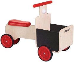 Детска количка с багажник - Дървена играчка за яздене -