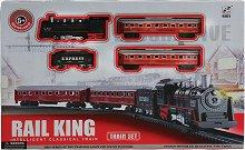 Влак - Rail King - Детски комплект за игра със звукови и светлинни ефекти - количка