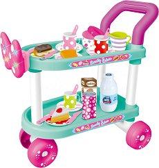 Количка за сервиране с аксесоари - Lovely Cakes - Детска играчка със звукови и светлинни ефекти -