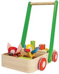 Количка за бутане - Bird - Детска дървена играчка -