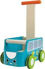 Количка за бутане - Автобус - Детска дървена играчка -