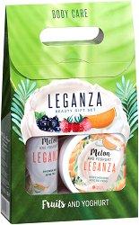 Подаръчен комплект - Leganza Melon & Yoghurt - Душ гел и мус за тяло -