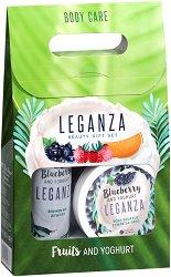 Подаръчен комплект - Leganza Blueberry & Yoghurt - Душ гел и суфле за тяло -
