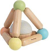 Дрънкалка - Триъгълник с топче - Дървена играчка -