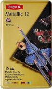 Акварелни моливи с металиков ефект - Metallic - Комплект от 12 цвята в метална кутия