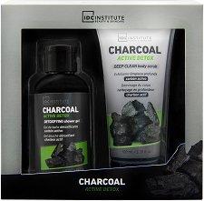 IDC Institute Charcoal Active Detox - Подаръчен комплект с козметика за тяло с детокс ефект -