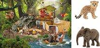 Изследователска станция Кроко - Комплект от пъзел и 2 фигурки на животни -