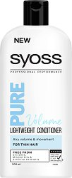 Syoss Pure Volume Lightweight Conditioner - Олекотен балсам за обем за тънка коса - шампоан