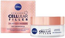 """Nivea Cellular Filler + Elasticity Reshape Day Cream - SPF 30 - Дневен крем за лице за плътна и еластична кожа от серията """"Cellular Filler + Elasticity Reshape"""" - фон дьо тен"""