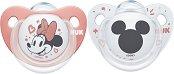 Залъгалки от силикон с ортодонтична форма - Мики и Мини Маус - Комплект от 2 броя с кутия за съхранение за бебета от 0+ до 6 месеца - продукт