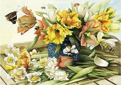 """Пролетни цветя - Маржолен Бастен (Marjolein Bastin) : От колекцията """"Premium Quality"""" - пъзел"""