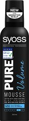 Syoss Pure Volume Mousse - Пяна за коса за ефирен обем и дълготрайна фиксация - продукт