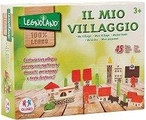 Детски дървен конструктор - Моето село - Комплект от 45 елемента -