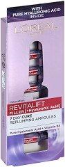 """L'Oreal Revitalift Filler HA Replumping Ampoules - Ампули за лице против стареене с хиалуронова киселина от серията """"Revitalift Filler HA"""" - продукт"""