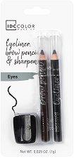 IDC Color Eyeliner & Brow Pencils - Комплект моливи за очи и вежди с острилка - червило