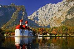 """Църквата Св. Вартоломей и езеро Кьонигсзе - От колекцията """"Premium Quality"""" - пъзел"""