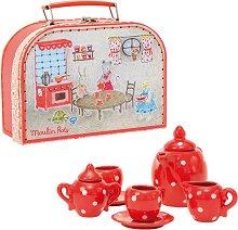 """Порцеланов сервиз за чай в куфарче - Детски комплект за игра от серията """"La grande famille"""" -"""