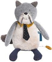 """Коте - Fernand - Плюшена музикална играчка за бебе от серията """"Les Moustaches"""" -"""