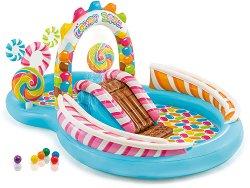 Надуваем детски център с пързалка и пръскалка - Бонбонландия - Комплект с 6 топки и 2 надуваеми близалки - продукт