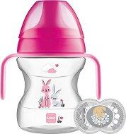 Неразливаща се чаша с мек накрайник и дръжки - Learn to Drink Cup 190 ml - Комплект със залъгалка за бебета над 6 месеца -