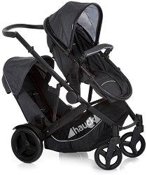 Комбинирана бебешка количка за близнаци - Duett 3: Melange Charcoal - С 4 колела - количка