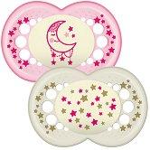 Флуоресцентни залъгалки от силикон с ортодонтична форма - Night - Комплект от 2 броя за бебета над 12 месеца - продукт