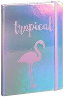 Тефтер с холограмен ефект - Фламинго
