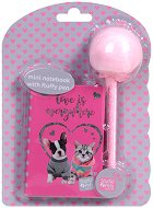 """Тефтер и химикалка с помпон - Коте и куче - Комплект от серията """"Paso: Studio Pets"""""""