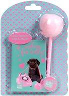 """Тефтер и химикалка с помпон - Куче - Комплект от серията """"Paso: Studio Pets"""""""
