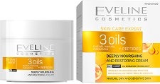 Eveline Skin Care Expert 3 Oils Day & Night Cream - Дневен и нощен крем за лице за суха и чувствителна кожа - шампоан