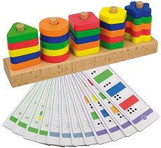 Цветове и форми - Дървена образователна играчка за нанизване -