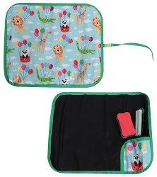 Мека сгъваема дъска за писане и рисуване - Paint and Roll - Комплект с 2 цвята тебешири и гъбичка