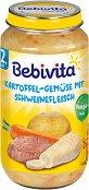 Bebivita - Пюре от картофи и зеленчуци със свинско месо - Бурканче от 250 g за бебета над 12 месеца - пюре