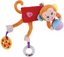 Маймунка - Мека бебешка играчка с дрънкалка и дъвкалка -