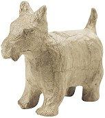 Фигура от папиемаше - Кученце - Предмет за декориране с размери 10.5 / 4.5 / 9 cm