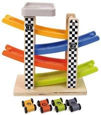 Дървена състезателна писта - Комплект с 4 колички -