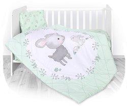 Спален комплект за бебешко креватче - Lamb & Bunny - 4 части -
