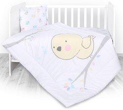 Спален комплект за бебешко креватче - Пиленце - Комплект от 3 части -