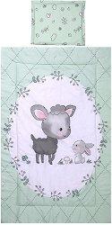 Бебешки спален комплект от 3 части - Lamb Green - 100% ранфорс за матраци с размери 60 x 120 cm и 70 x 140 cm - шише