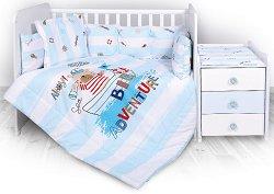 Спален комплект за бебешко креватче - Big Adventure - 5 части -